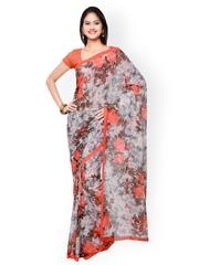 Vaamsi Multicoloured Chiffon Floral Print Saree