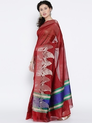 Bunkar Red Cotton Silk Woven Pattern Banarasi Saree