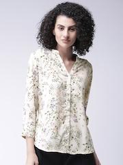 Moda Rapido Women Cream-Coloured Printed Casual Shirt