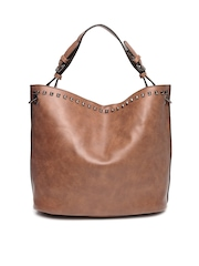 Roadster Brown Studded Tote Bag