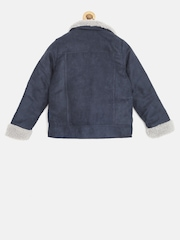 Elle Kids Girls Navy Jacket with Faux Fur Detail