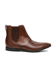 Clarks Men Tan Solid High-Top Leather Flat Boots