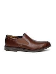 Clarks Men Brown Round-Toed Formal Leather Slip-On