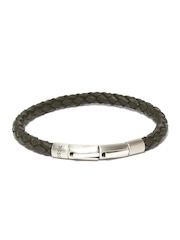 Fossil Men Olive Green Braided Bracelet