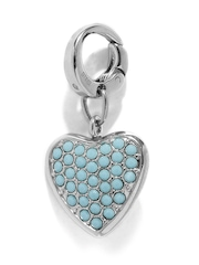 Fossil Silver-Toned & Turquoise Blue Embellished Heart-Shaped Pendant