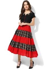 AKS Black & Red Bandhini Print Anarkali Kurta