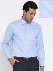 John Players Men Blue Slim Fit Solid Formal Shirt