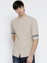 John Players Men Beige Trim Fit Solid Casual Shirt