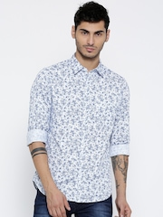 John Players Men White & Blue Floral Print Casual Shirt