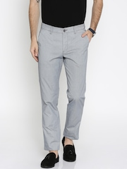 John Players Men Navy & White Slim Fit Flat-Front Trousers