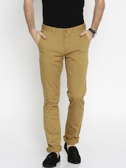 John Players Men Khaki Solid Slim Fit Flat-Front Trousers