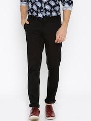 John Players Men Black Slim Fit Trousers