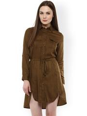 StyleStone Women Olive Brown Solid Shirt Dress