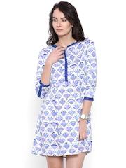 Chumbak Women White & Blue Printed A-Line Dress
