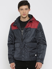 Lee Navy & Red Hooded Puffer Jacket