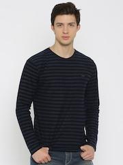 Lee Men Black & Navy Striped Round Neck T-shirt