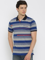 Lee Men Blue Striped Polo T-Shirt