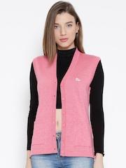 Monte Carlo Women Pink Solid Woollen Sleeveless Cardigan