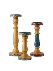 RANGRAGE Multicoloured Set of 3 Hand-Painted Candle Holders