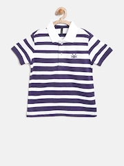 United Colors of Benetton Boys Navy Striped Polo Collar T-shirt