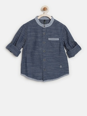 United Colors of Benetton Boys Navy Striped Shirt