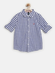United Colors of Benetton Boys Blue Gingham Check Shirt