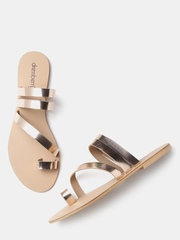 DressBerry Women Rose Gold-Toned Solid Open-Toed Flats