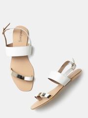 DressBerry Women White Colourblocked Open-Toed Flats
