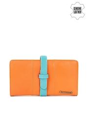 Fastrack Women Orange & Blue Genuine Leather Wallet