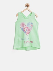 United Colors of Benetton Girls Green Printed Tank Top