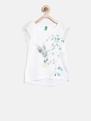 United Colors of Benetton Girls Off-White Printed Top