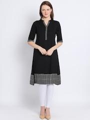 Global Desi Women Black Solid A-Line Kurta