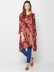 Global Desi Red Printed Tunic