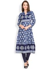 Vishudh Women Blue Printed Anarkali Kurta