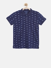 Pepe Jeans Boys Navy Printed Polo Collar T-shirt