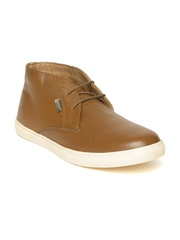 Red Tape Men Tan Brown Solid Mid-Top Leather Derby Shoes
