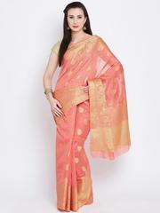 Banarasi Style Coral Pink Cotton Paisley Pattern Banarasi Saree
