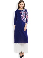 Vishudh Women Blue Solid Straight Kurta