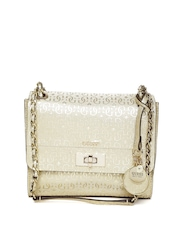 GUESS Gold-Toned Logo Textured Sling Bag