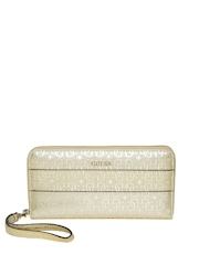 GUESS Women Gold-Toned Logo Patterned Zip-Around Wallet