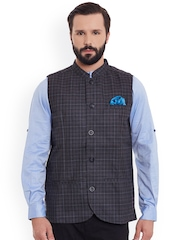 even Charcoal Grey Checked Slim Fit Nehru Jacket