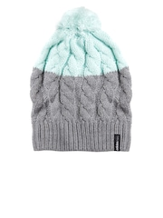 Adidas NEO Women Mint Green & Grey Warm Colourblocked Cable Knit Beanie