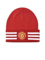 Adidas Unisex Red Manchester United F.C. 3S Woolie Striped Beanie