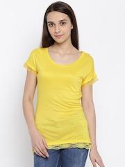 Park Avenue Women Yellow Solid T-shirt