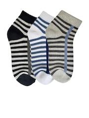 MARC Men Set of 3 Striped Above Ankle-Length Socks
