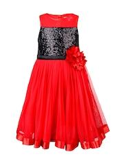 Toy Balloon kids Girls Red & Black Embellished A-Line Dress