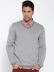 H.E. By Mango Men Grey Melange Chevron Patterned Sweater