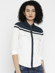 Wrangler Women White & Navy Shirt