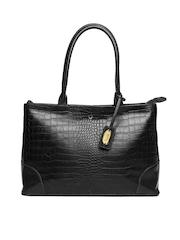 Hidesign Black Textured Leather Shoulder Bag