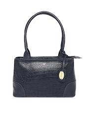 Hidesign Navy Croc Textured Leather Shoulder Bag